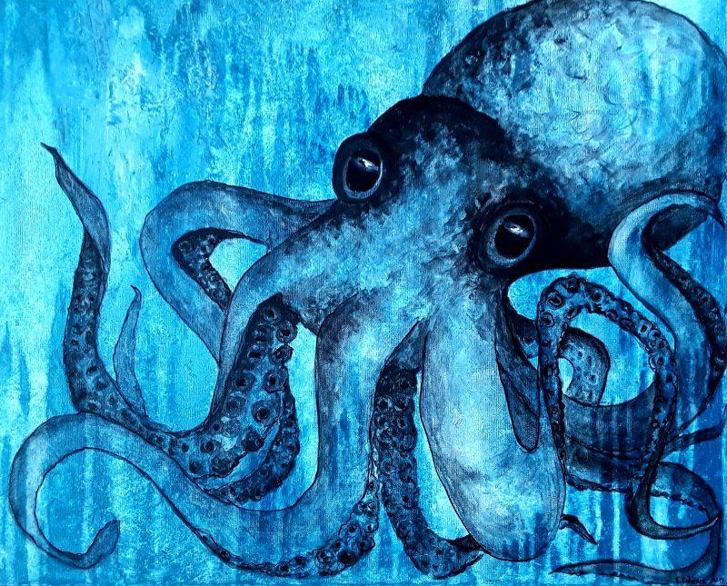 pieuvre bleue acrylique sur toite 54x65cm
